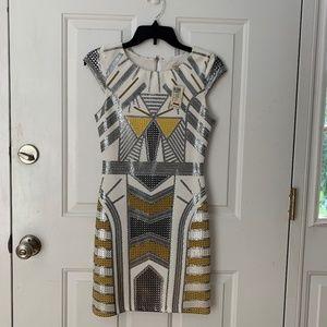 Arden B brand new angular gold foil dress